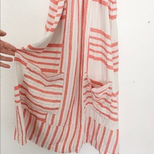 Red and white striped linen dress